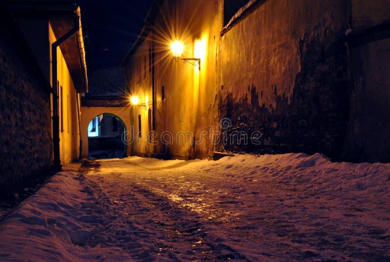 Night street in Spisska Sobota, Poprad, Slovakia royalty free stock photos