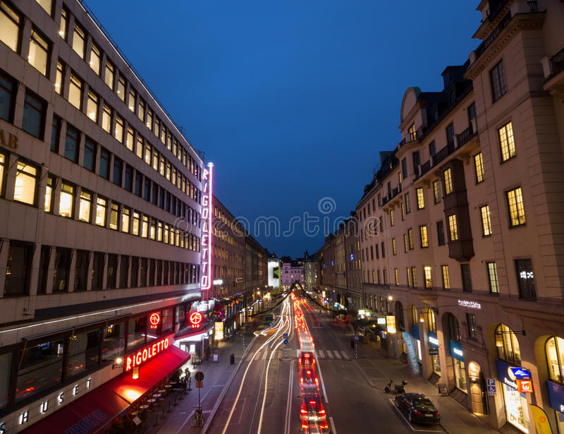 Night street in Stockholm. Sweden. 05.11.2015 royalty free stock photo