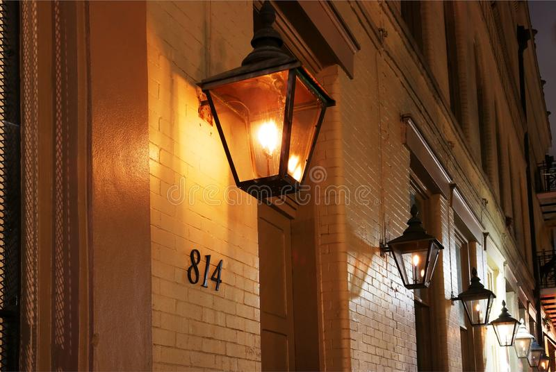 New Orleans French Quarter gas lights. stock photography