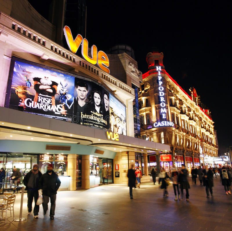 Night street view of Leicester Square royalty free stock photo