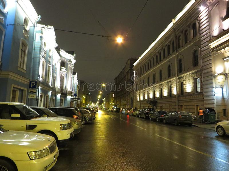Night streets of St. Petersburg. Russia. Tourist attraction stock photos