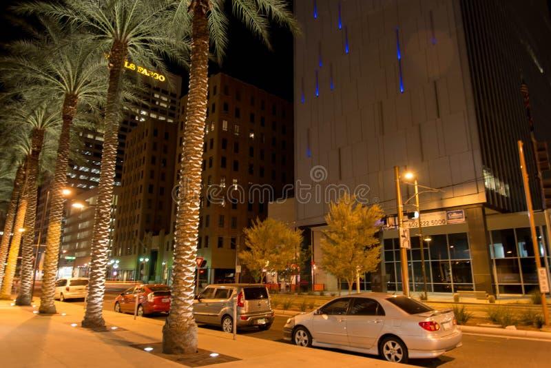 Night streetscape in downtown Phoenix, AZ. Night streetscape in downtown Phoenix, Arizona stock photo