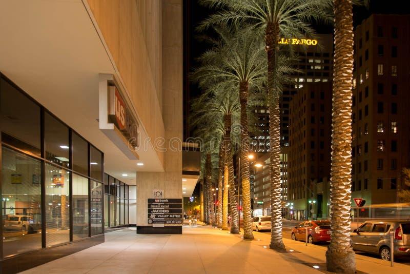 Night streetscape in downtown Phoenix, AZ. Night streetscape in downtown Phoenix, Arizona stock image