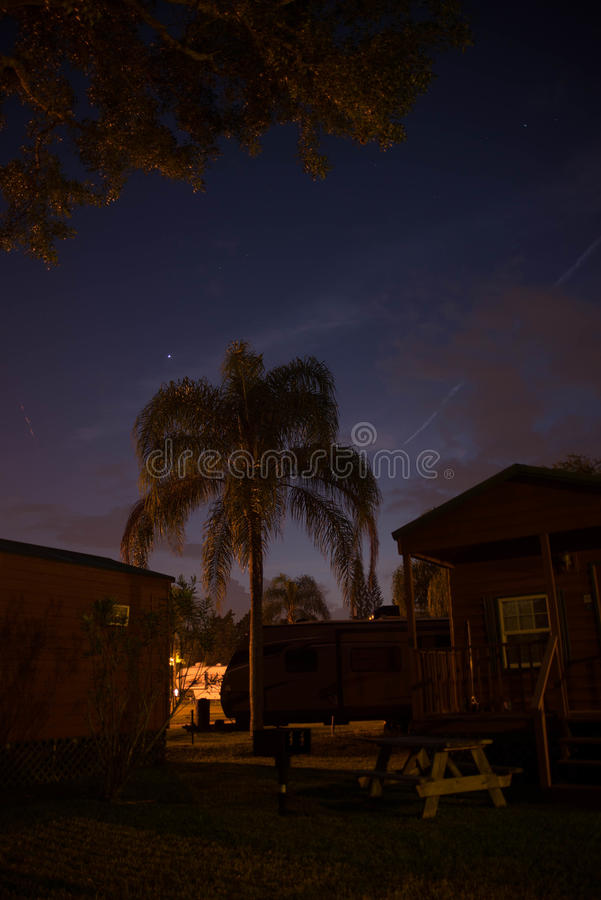 Night summer campground. stock photo