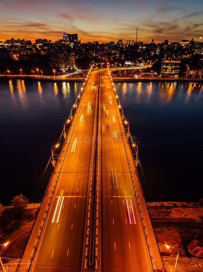 Free Night Summer Voronezh, Chernavsky Bridge And Massalitinov Embankment, Aerial View Royalty Free Stock Photography - 160394397