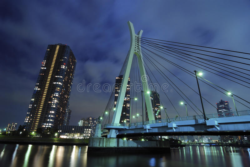 Night suspension bridge royalty free stock image