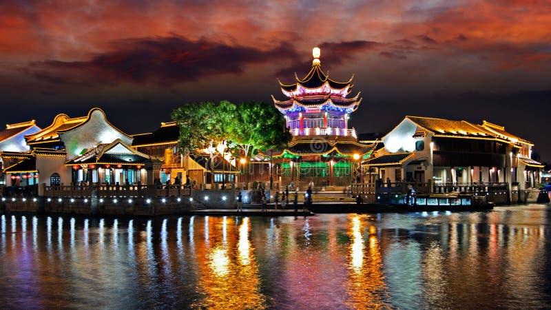 Night of Suzhou city, Jiangsu, China. Shantang, landmark of Suzhou, traditional buildings by river, panoramic view, sunset scene