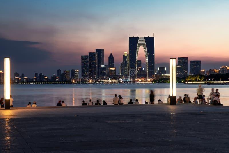 The night of Suzhou Jinji Lake royalty free stock photos