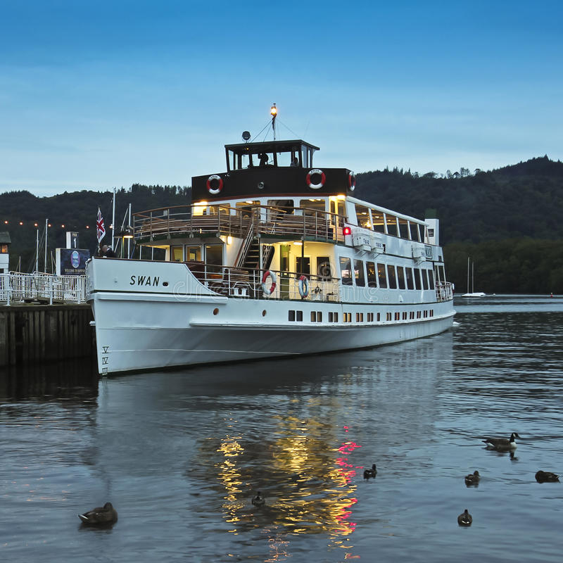 A Night Swan Shot In Bowness-on-Windermere Editorial Stock Photo