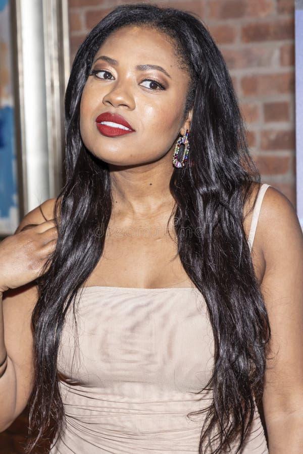 `Night sweats` screening. New York, NY, USA - November 13, 2019: Nhadya Salomon attends `Night Sweats` New York Premiere screening at Tribeca Screening Room royalty free stock photo
