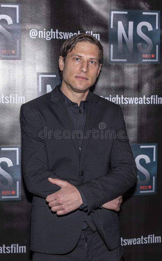 `Night sweats` screening. New York, NY, USA - November 13, 2019: Seth Panman attends `Night Sweats` New York Premiere screening at Tribeca Screening Room royalty free stock image