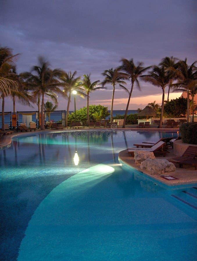 Night Swimming Pool stock photography