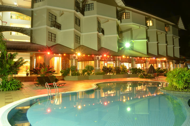 Night swimming-pool stock photo