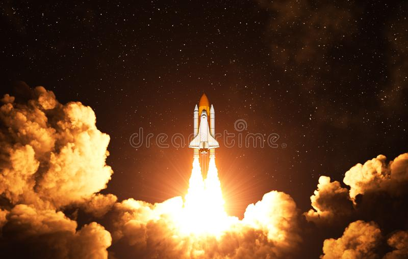 Night Takeoff Of The American Space Shuttle. 3D Illustration royalty free illustration