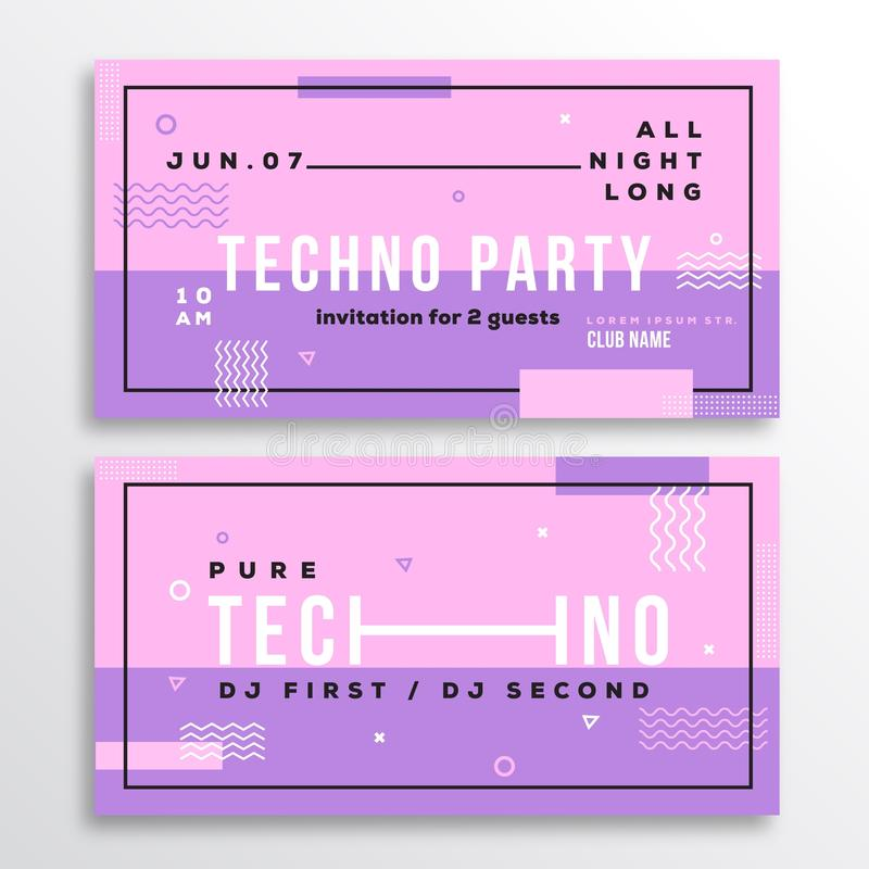 Download Night Techno Party Club Invitation Card Or Flyer Template. Stock  Vector   Image: