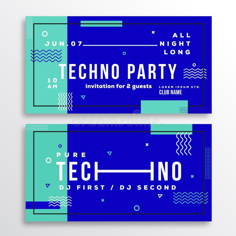 Night Techno Party Club Invitation Card Or Flyer Template. Modern