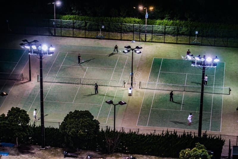 Night tennis courts. Shooting location : Japan: Yokohama royalty free stock photos