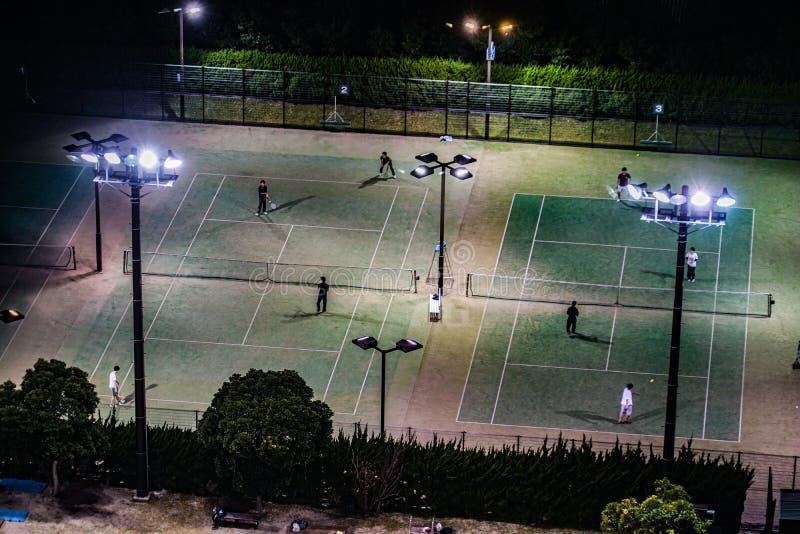 Night tennis courts. Shooting location : Japan: Yokohama royalty free stock photo
