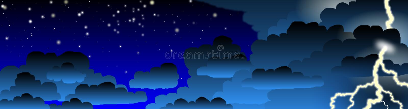 Night Thunderstorm Banner stock illustration