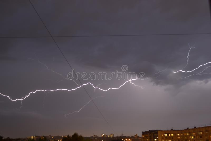Night thunderstorm with lightning stock photo