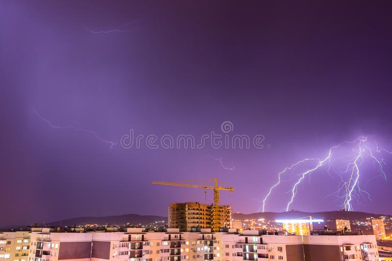 Night thunderstorm with lightning over city resort of Anapa, Russia stock image