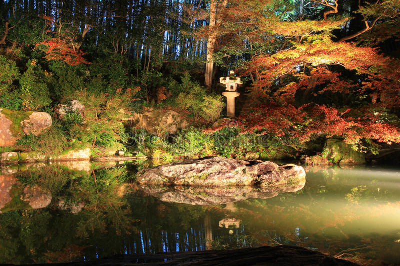 Night time in autumn at Shoren-in Temple. Shoren-in Temple is a Buddhist temple in Kyoto, Japan. Also known as the Awata Palace, it was built in the late 13th stock images