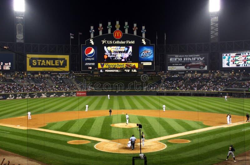 Night time baseball stock photography