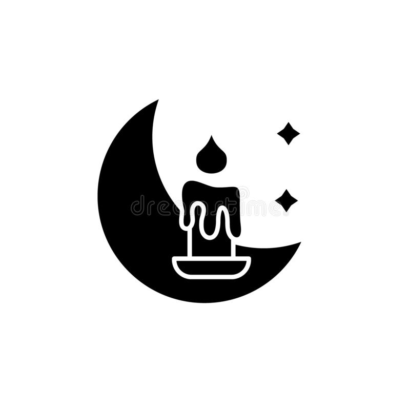 Night time black icon, vector sign on isolated background. Night time concept symbol, illustration. Night time black icon, concept vector sign on isolated royalty free illustration