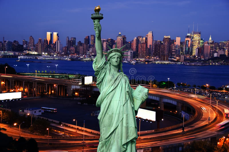Night time capture of midtown new york. With white advert space royalty free stock photography