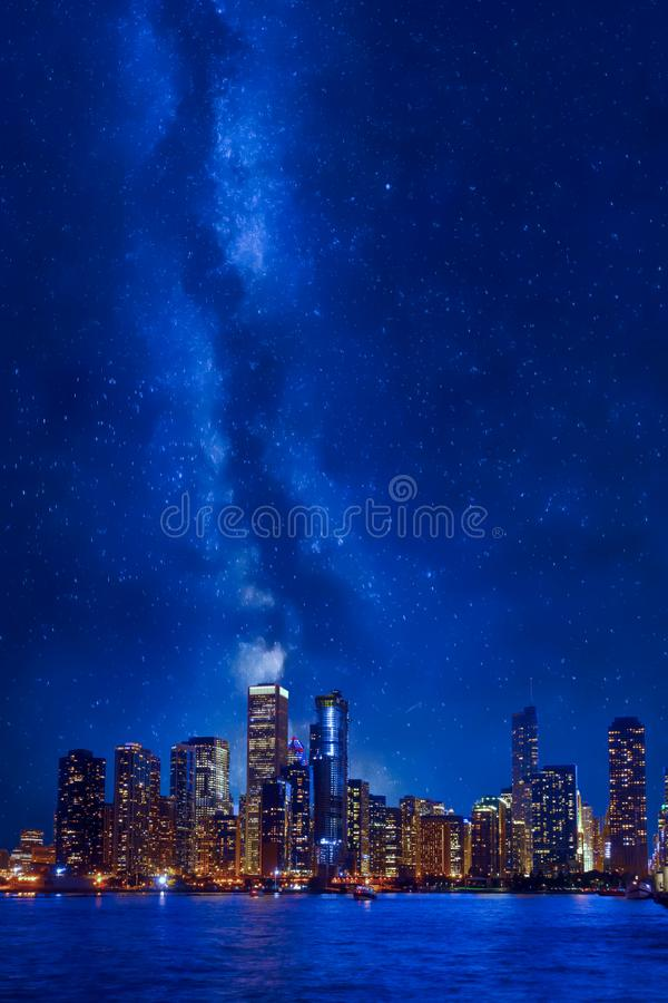 Night time Chicago downtown cityscape royalty free stock photos