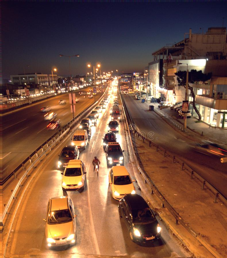 Night time city traffic blur stock images