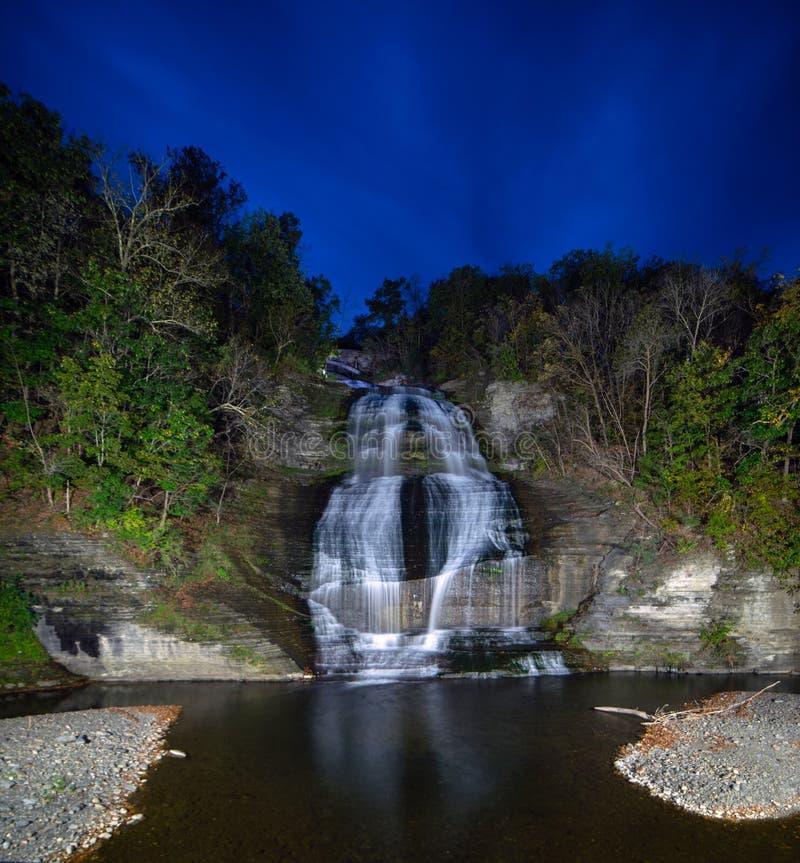 Night time exposure of Shequaga fall at night in Montour falls. New York stock photos