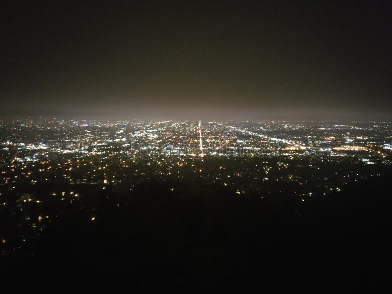 Night time in Griffith Observatory, Los Angeles, California, USA royalty free stock photo