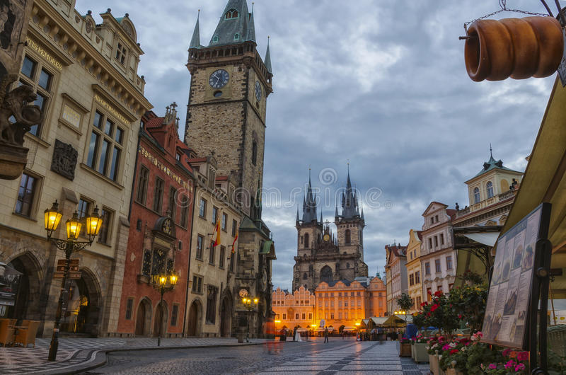 Night time illuminations of the the Old Town Hall (15th Century), Town Square and fairy tale Church of our Lady Tyn (1365) in royalty free stock photo