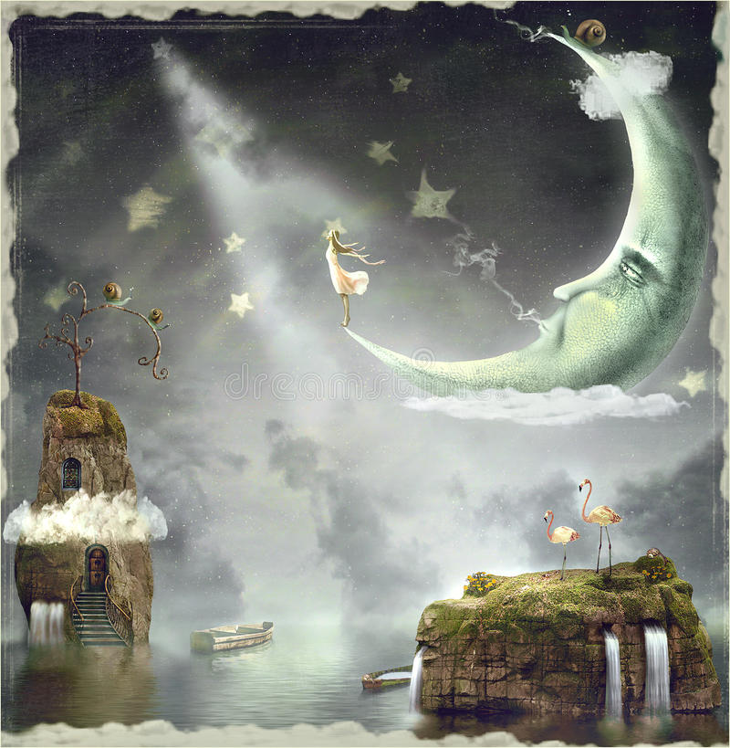 Night. Time of miracles and magic stock illustration