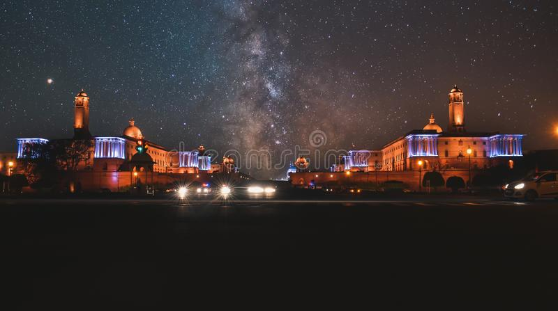 Night time photos of Rashtrapati Bhavan at New Delhi,India with milky way. The final image is a composition of two images taken at different span of time stock photos