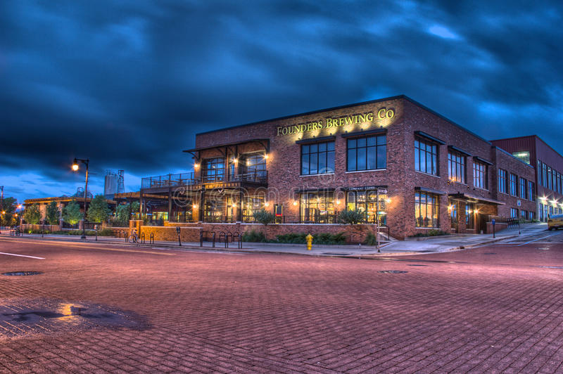 Night time picture of Founders Brewing Company royalty free stock image
