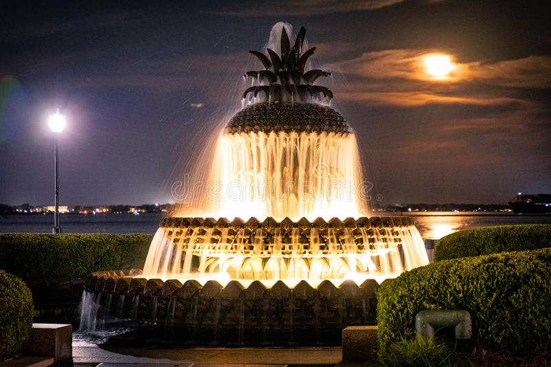 Night time Pineapple Fountain Charleston SC royalty free stock photos