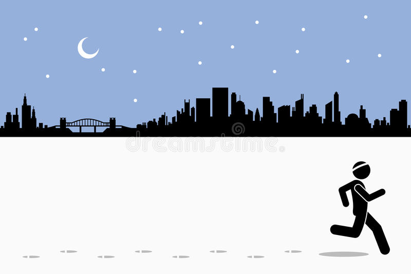 Night time running at city stock illustration