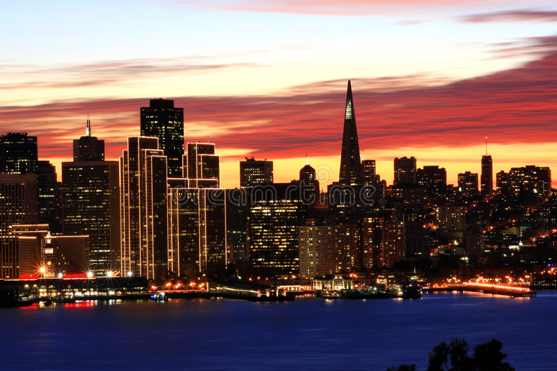 Night time, San Francisco skyl royalty free stock image