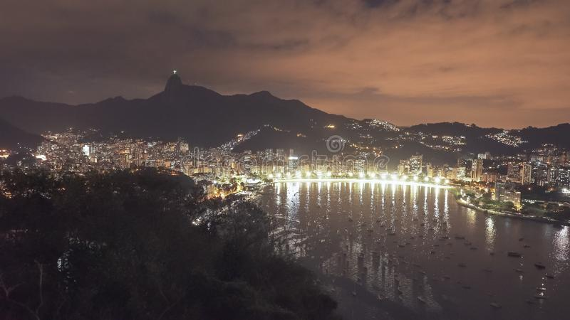 Night time shot of botafogo and downtown rio. De janeiro, brazil royalty free stock images