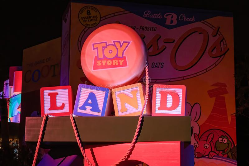 Night time shot of the Toy Story Land sign stock photography