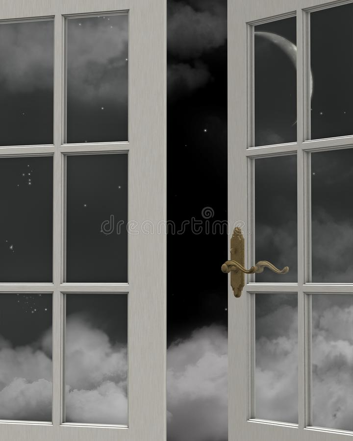 Download Night Time Sky Window View stock illustration. Illustration of crescent - 15658802