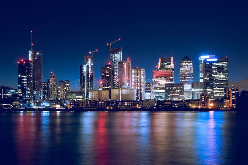 Canary Wharf Business District Skyline at Night royalty free stock photos