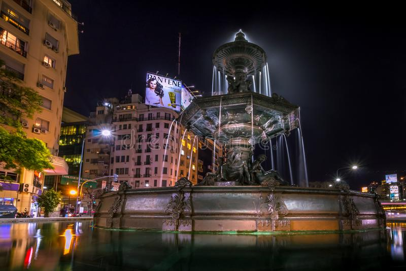Buenos Aires, Argentina - Night Time Street View with Fountain on Avenida 9 de Julio Avenue in Buenos Aires Argentina. Night Time Street View with Fountain on royalty free stock photos