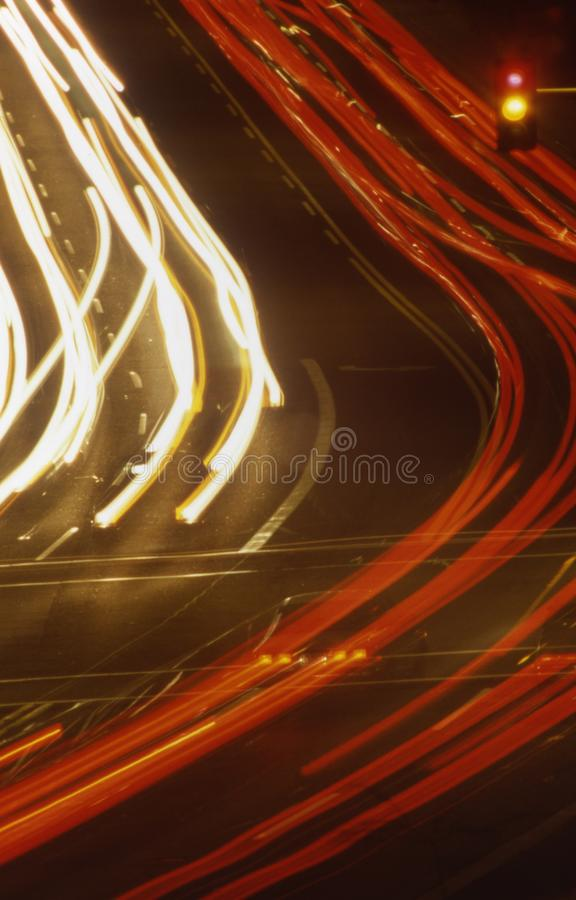 Night time traffic in Phoenix Arizona. Night time traffic car headlights and taillights streaking in Phoenix Arizona royalty free stock image