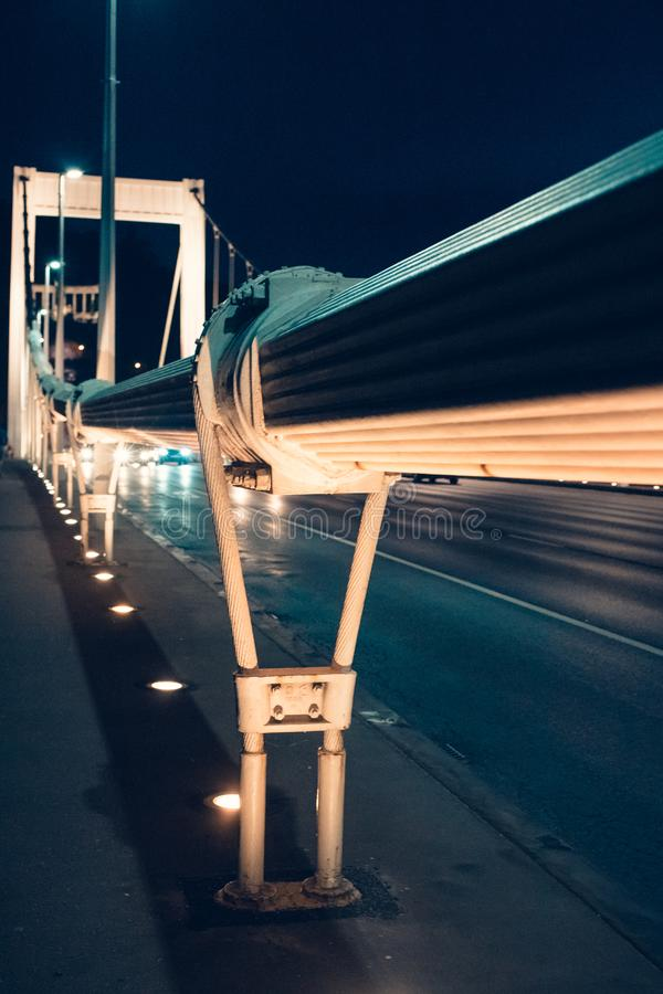 Night time traffic over the Elisabeth bridge. It crosses Danube river and connect Buda and Pest together. Budapest, Hungary.  royalty free stock photography