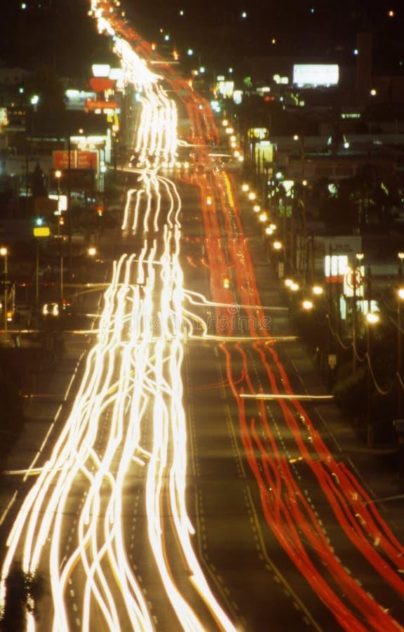 Night time traffic in Phoenix Arizona. Night time traffic car headlights and taillights streaking in Phoenix Arizona royalty free stock photography