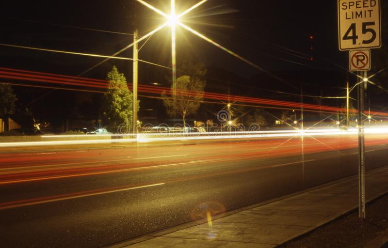 Night time traffic in Phoenix Arizona. Night time traffic car headlights and taillights streaking in Phoenix Arizona royalty free stock images