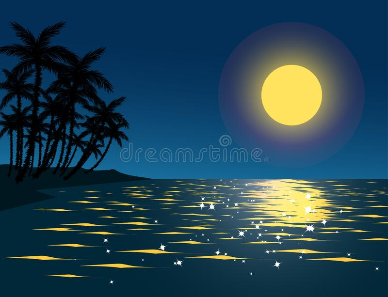 Night time at tropical beach with full moon and palm trees stock illustration